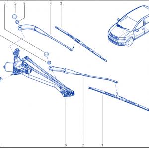 Dacia Sandero Front Wiper Motor Mechanism