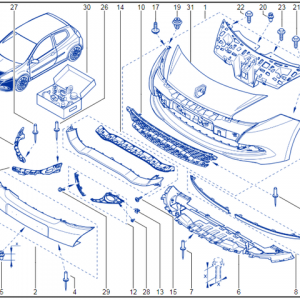 Renault Clio 200 Front Bumper Spoiler 8201045505